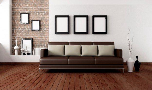 teglsteinsmur i stue